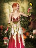 Dreamy Fairy in a forest glade with a lantern and butterfly poster