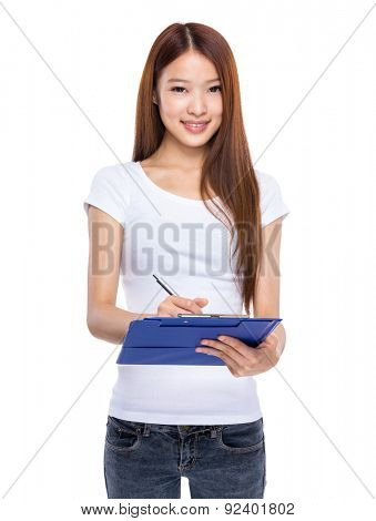 Woman take note on clipboard poster