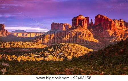 Cathedral Rock in Sedona, Arizona in the evening light