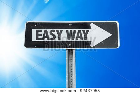 Easy Way direction sign with a beautiful day