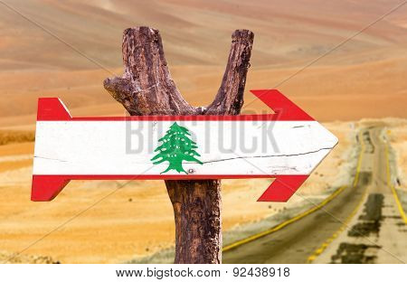 Lebanon Flag wooden sign with desert background
