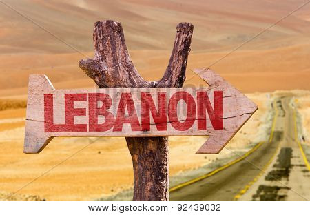 Lebanon wooden sign with desert background