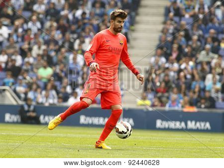 BARCELONA - APRIL, 25: Gerard Pique of FC Barcelona during a Spanish League match against RCD Espanyol at the Power8 stadium on April 25 2015 in Barcelona Spain