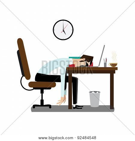 Tired office man sleeping at desk