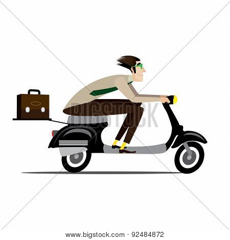 Creative man riding on a scooter