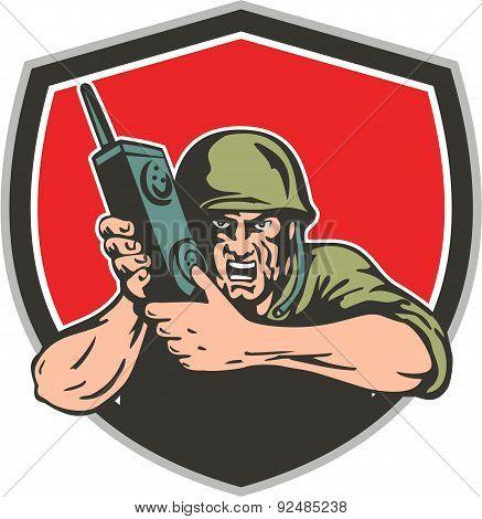 World War Two American Soldier Field Radio Shield