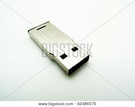 Silver Usb Flash Drive Isolated