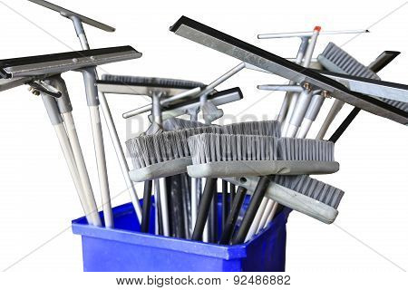 Collection of cleaning products and tools on white background, Broom for cleaning and Floor squeegee on white background. poster