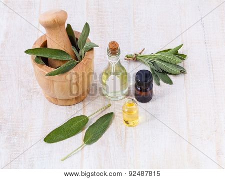 Natural Spa Ingredients  Sage Essential Oil For Aromatherapy.