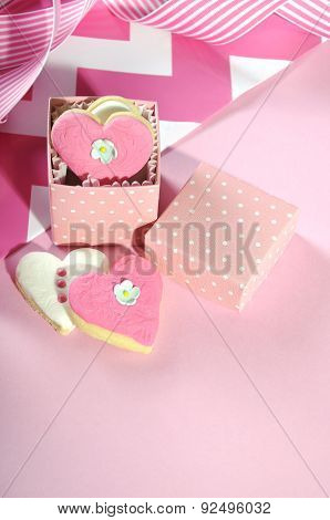 Heart Shape Pink And White Cookies