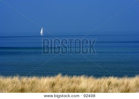 White Boat On Blue Sea