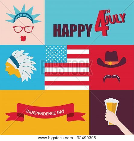 celebration of 4th of July. hipster characters