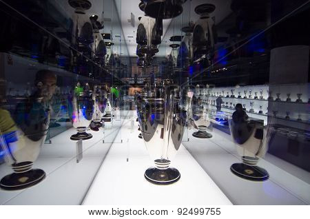 Uefa Champions League Cup In Museum Of Fc Barcelona, Spain.