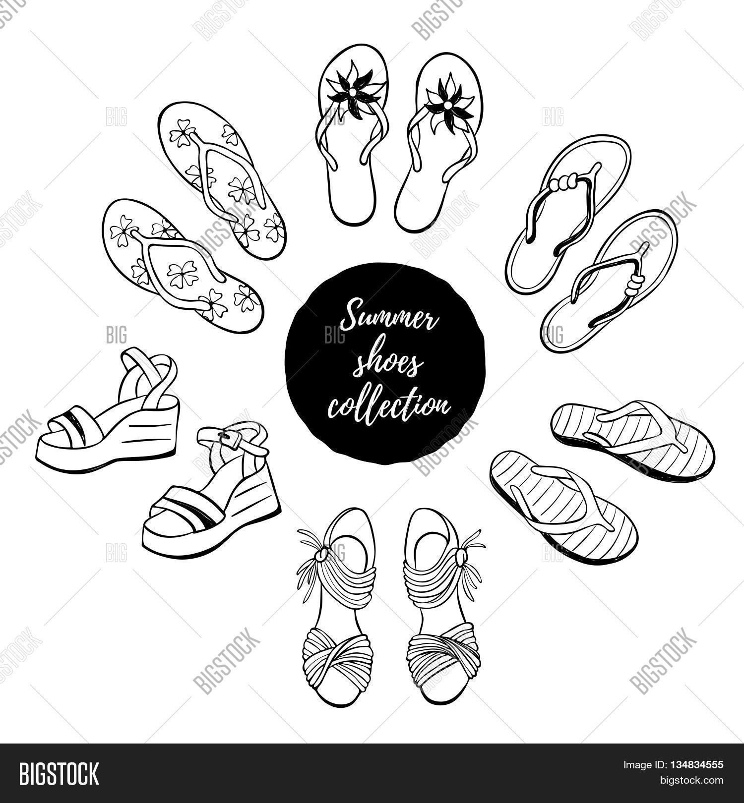 d91180175 Hand drawn shoes collection. Summer flip flops flats and sandals isolated  on white background.