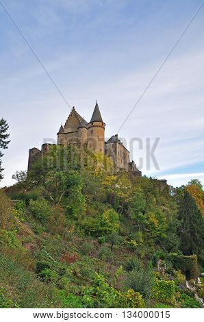 Medieval Castle Of Vianden On Top Of The Mountain In Luxembourg