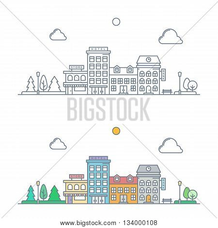 thin line town landscape concept. linear cityscape with buildings and trees. small town street scene with store hotel bank. flat outline style. isolated on white background. vector illustration