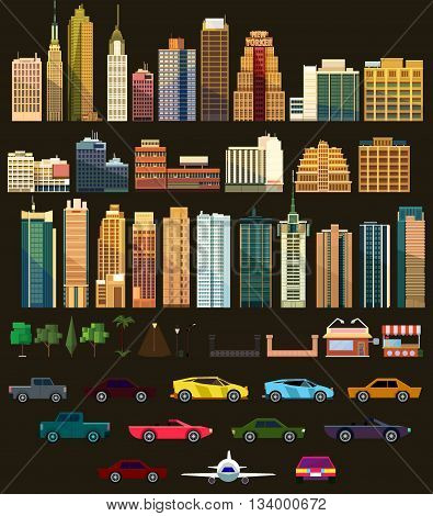 Big set with city elements to make your own city. Vector illustration