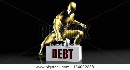 Eliminating Stopping or Reducing Debt as a Concept 3d Illustration Render