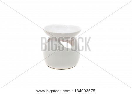 White ceramic vase candlesticks for aromatic oil isolated on the white background.