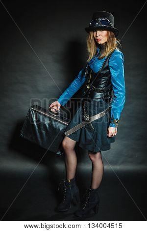 Steampunk Girl With Retro Bag.