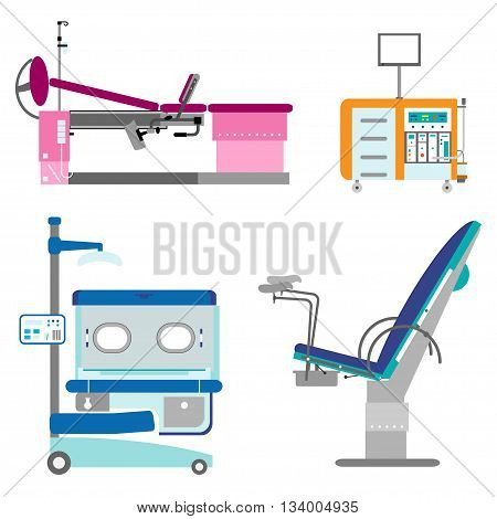 Medical hospital equipment set. Gynaecology chair and couch Infant incubator working Cabinet of the gynecologist. Colorful flat style
