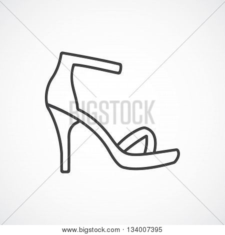 Women's high-heeled sandal. Vector line icon on white background