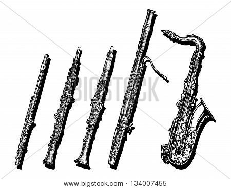 Vector hand drawn set of woodwind musical instruments. Flute oboe clarinet bassoon and saxophone.