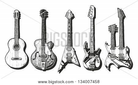 Vector hand drawn set of guitars. Acoustic guitar (classical guitar ) semi-acoustic guitar (archtop guitar) electric guitar bass guitar and double neck guitar.