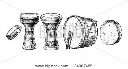 Vector hand drawn set of Middle Eastern Percussion Instruments. Riq turkish darabuka egyptian tabla davul and daf.