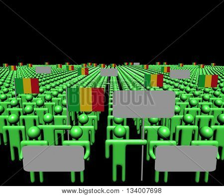 Crowd of people with signs and Malian flags 3d illustration