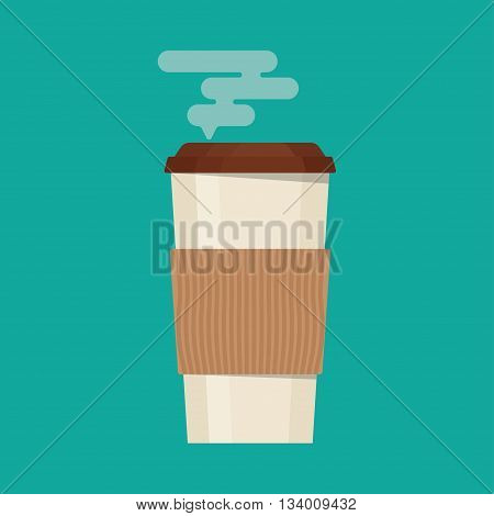 Coffee cup vector illustration. Paper. offee cup icon isolated on background. Plastic coffee cup with hot coffee in flat style. Coffee cup beans.
