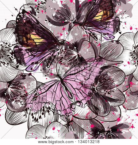 Beautiful seamless pattern or background with flowers and butterflies in watercolor style painted by spots