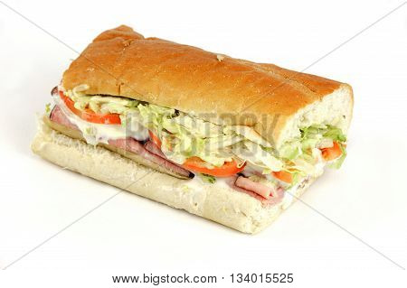 fresh ham sandwich with vegetable and cheese on white background