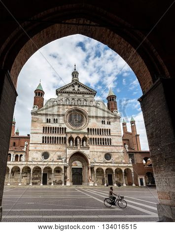 CREMONA ITALY - APRIL 26 2016: Cremona Cathedral consecrated in 1196 was built in Romanesque style and later extended with Gothic Renaissance and Baroque elements.