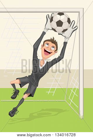 Football goalkeeper catches ball. Penalty kick in soccer. Vector cartoon illustration