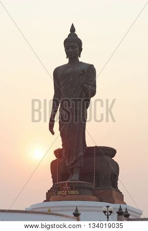 Silhouette Of Buddha Statue At Phutthamonthon