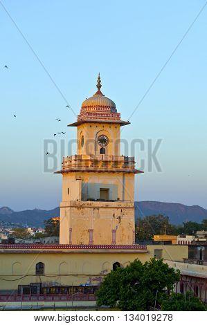 famous historic  clocktower in Jaipur in sunset