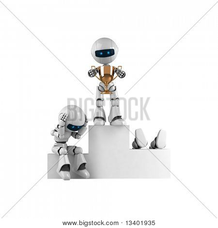 Funny robot stay with trophy