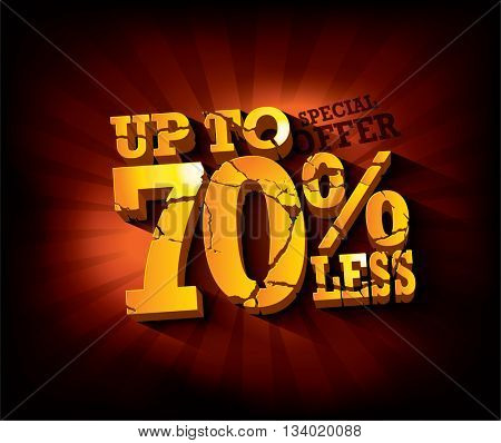 Sale typographic design with gold broken text against deep red rays backdrop. sale layout design. Vector illustration