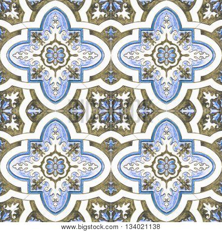 Beautiful ceramic tiles patterns in the park public.