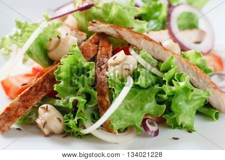 Chicken salad with mushrooms and onion close-up. Portion of salad of lettuce, grilled chicken, mushrooms, onion and cumin seeds on white background