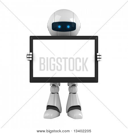 Funny robot stay with monitor