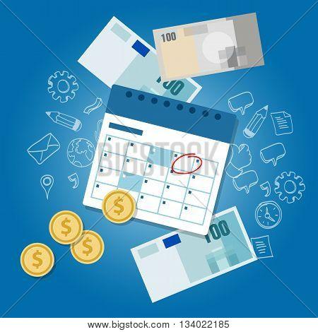 payment schedule day calendar payday deadline money vector
