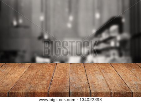 Perspective wooden tabletop with sepia background, stock photo