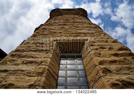 Looking up at a turret of the old Illinois State Penitentiary in Joliet, Illinois.
