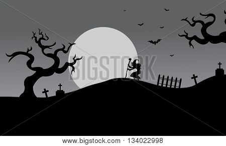 Gray backgrounds halloween silhouette witch and bat