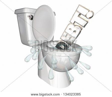 Debt Money Owed Bills Spending Flush Money Toilet 3d Illustration