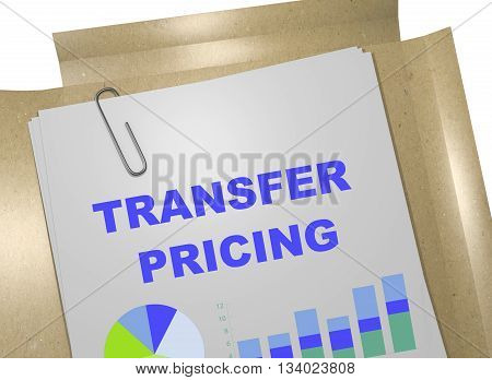 "3D illustration of ""TRANSFER PRICING"" title on business document. Business concept. poster"