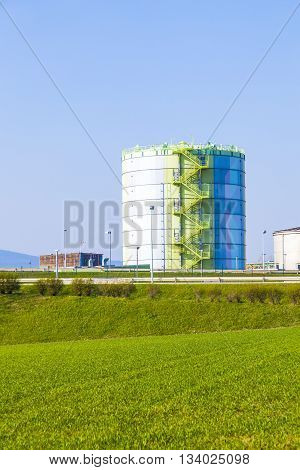 Silo In Industry Park In Beautiful Landscape