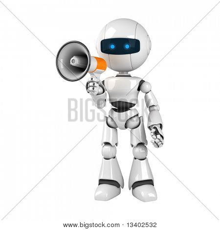 Funny white robot stay with megaphone